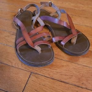 Brown leather strappy sandals size 9